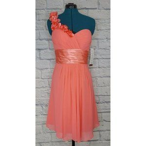 Bill Levkoff Coral One Hand Sweetheart neck dress